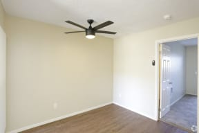 Dining room areas showing ceiling fan