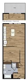 B-3 1 Bedroom 1 Bath Floorplan at Centro Arlington, Arlington, 22204