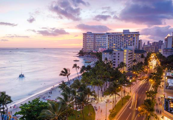 Stock photo of Waikiki at sunset