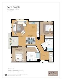 Fern Creek - 2 Bedroom 2 Bath Floor Plan Layout - 1148 Square Feet
