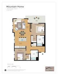 Mountain Home - 2 Bedroom 2 Bath Floor Plan Layout - 1148 Square Feet