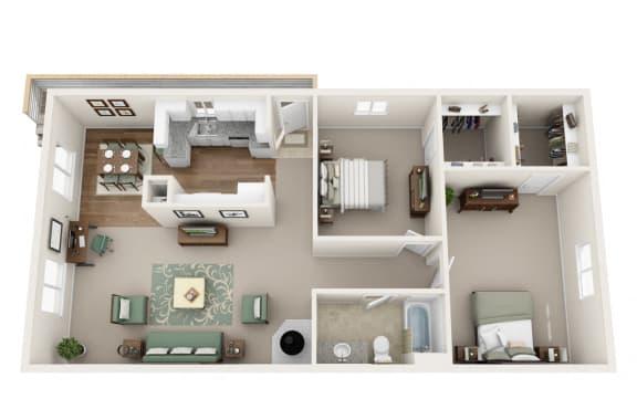 Floor Plan  Gresham, OR Campbell Park Apartments 2 bedrooms 1 bath upstairs