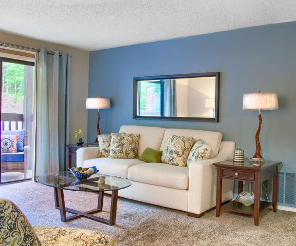 Living Room With Private Balcony at Verandas at Rocky Ridge, Birmingham, AL, 35216