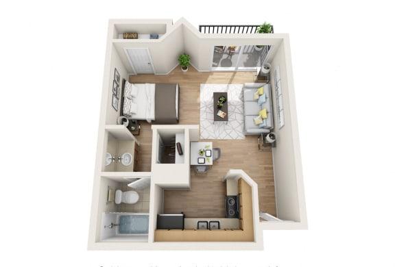 Floor Plan  Studio Apartment at Hollywood Vista