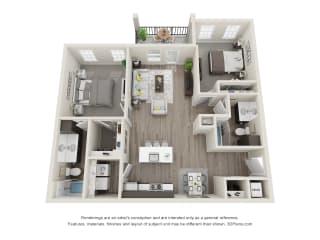 2 Bed 2 Bath Floor Plan at 24 at Bloomfield, Bloomfield Hills