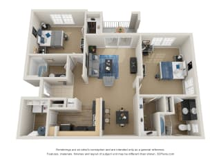 Preserve at Mobbly Bay, B1R layout, 1,143 square foot two bedroom, two bathroom