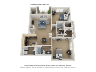 Preserve at Mobbly Bay, B4R layout, 1,206 square foot two bedroom, two bathroom