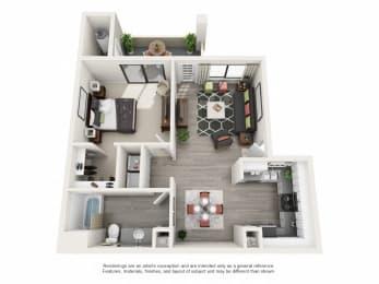 One Upgraded - 1 Bedroom 1 Bath Floor Plan Layout - 730 Square Feet