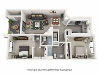 A Upgraded - 2 Bedroom 2 Bath Floor Plan Layout - 1000 Square Feet