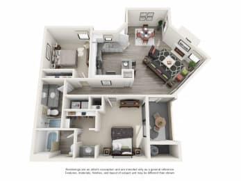 B Upgraded - 2 Bedroom 2 Bath Floor Plan Layout - 1000 Square Feet