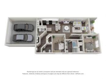 Vintage Visalia 2 Bedroom 3D Floorplan