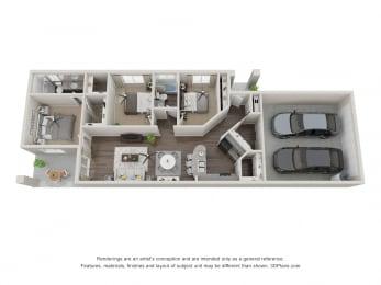 Vintage Visalia 3 Bedroom 3D Floorplan
