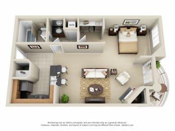 Studio A - 0 Bedroom 1 Bath Floor Plan Layout - 525 Square Feet