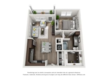 1 Bed 1 Bath Floor Plan A1A at The Luminary at 95, West Melbourne, FL, 32904