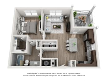 One Bed One Bath Floor Plan A3A at The Luminary at 95, West Melbourne, 32904