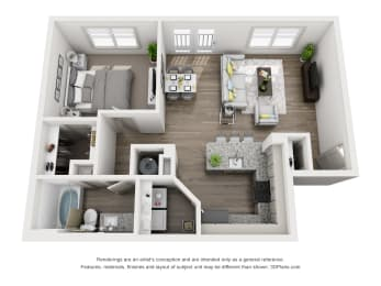 1 Bedroom B 1 Bath Floor Plan at Sixes Ridge, Georgia
