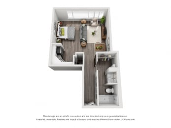 Cary 3D floorplan with kitchen that opens to living and flex space. 1 bath with standalone shower and closet space.