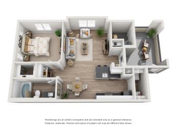 Aspen - 1 Bedroom 1 Bath Floor Plan Layout - 705 Square Feet