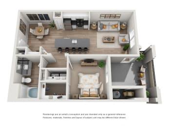Cypress - 1 Bedroom 1 Bath Floor Plan Layout - 771 Square Feet
