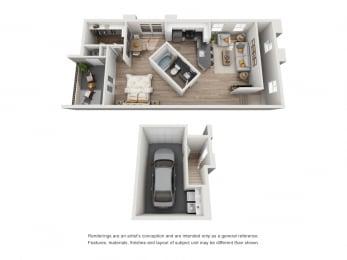 Willow - 1 Bedroom 1 Bath Floor Plan Layout - 820 Square Feet