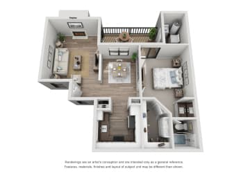 A - 1 Bedroom 1 Bath Floor Plan Layout - 800 Square Feet