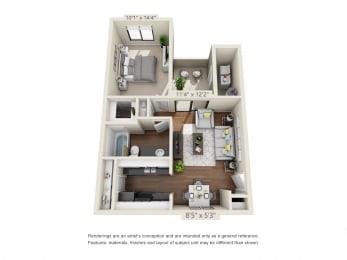 2 Bedroom 2 Bath Floor Plan Layout – 911 Square Feet