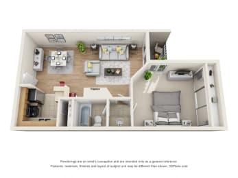 1 Bed 1 Bath  Regency Floor Plan at La Vista Terrace, California, 90046