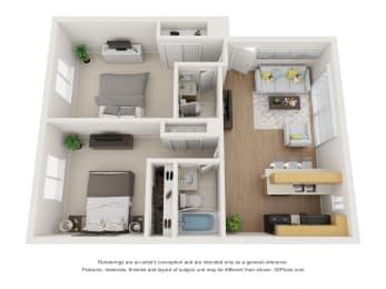 Floor Plan B at Superior Place, Northridge, 91325