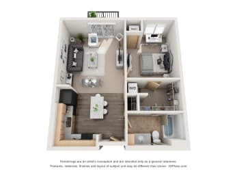 665 sq.ft. One Bed One Bath