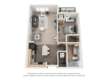 729 sq.ft. One Bed One Bath