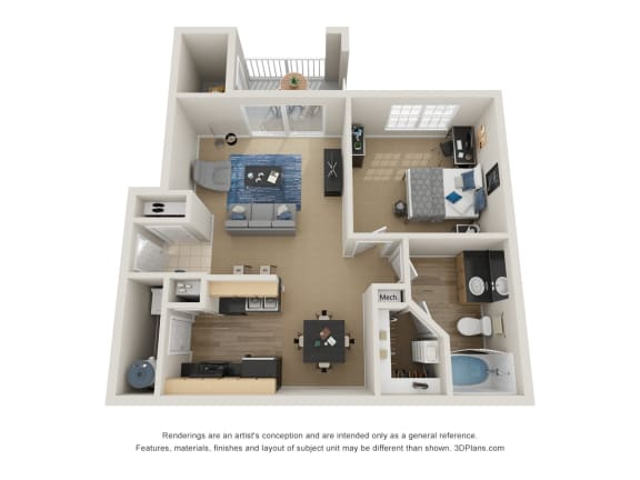 Floor Plan  Preserve at Mobbly Bay, A1R layout, 776 square foot one bedroom one bathroom