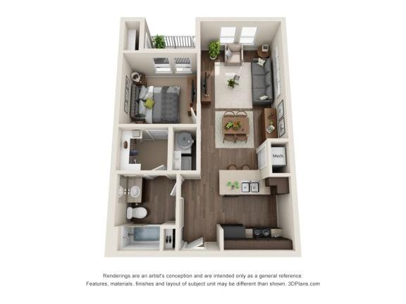 Floor Plan  1 Bed 1 Bath A Floor Plan at Rio Lofts, San Antonio, TX