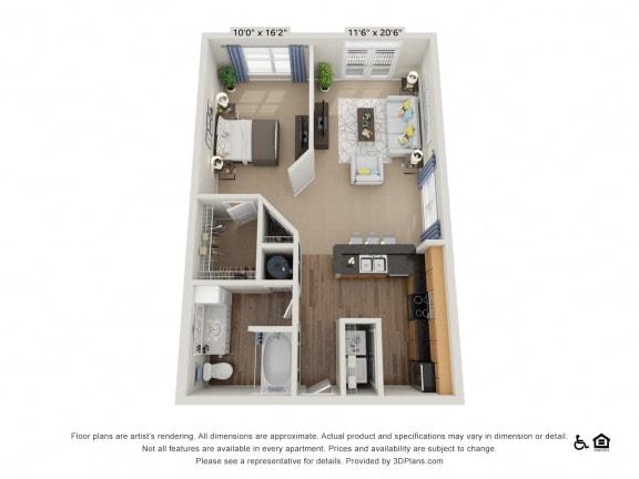 Floor Plan  A1 Studio 1Bath Floor Plan