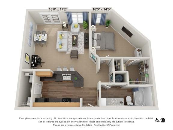 Floor Plan  B10 1 Bed 1 Bath Floor Plan