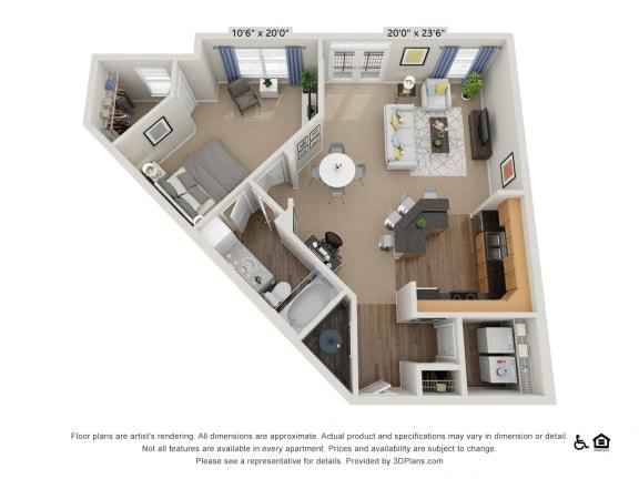 Floor Plan  B11 1 Bed 1 Bath Floor Plan