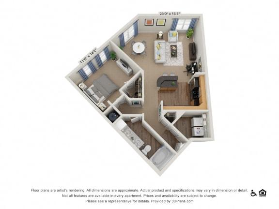 Floor Plan  B6 1 Bed 1 Bath Floor Plan