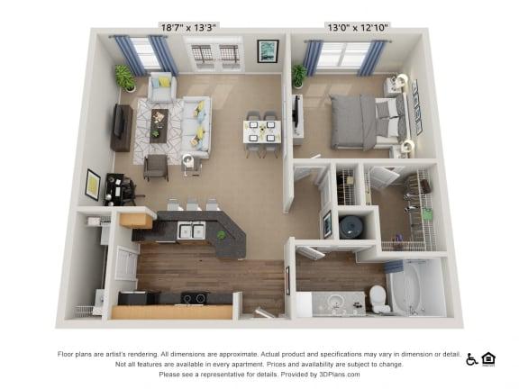 Floor Plan  B9 1 Bed 1 Bath Floor Plan
