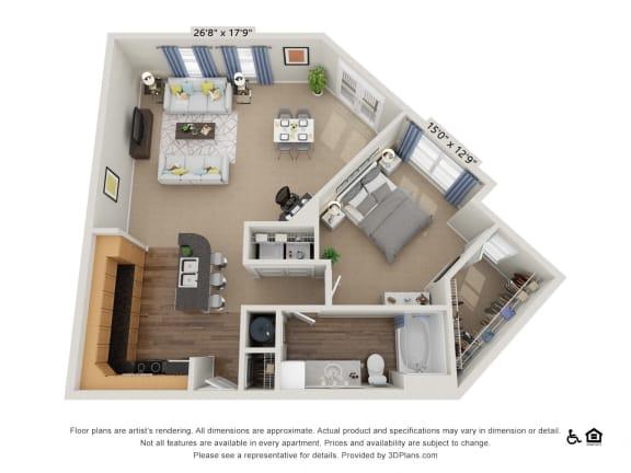 Floor Plan  C2 1 Bed 1 Bath Floor Plan