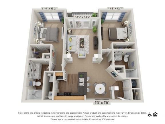 Floor Plan  E1 2 Bed 2 Bath Floor Plan