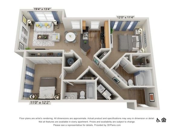 Floor Plan  E2 2 Bed 2 Bath Floor Plan