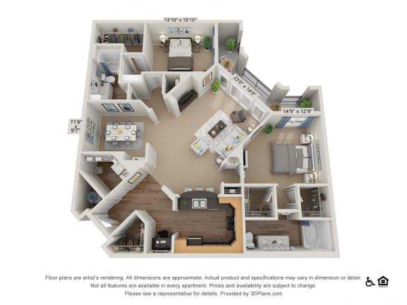 Floor Plan  E3 2 Bed 2 Bath Floor Plan