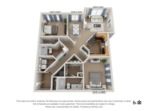 Floor Plan  E4 2 Bed 2 Bath Floor Plan