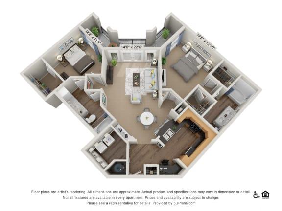 Floor Plan  E5 2 Bed 2 Bath Floor Plan