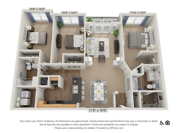 Floor Plan  F3 3 Bed 2 Bath Floor Plan