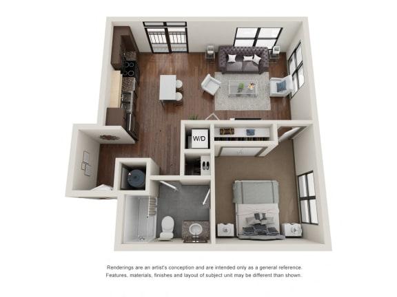 Floor Plan  301.1E Floor Plan Layout at The George & The Leonard, Atlanta, Georgia