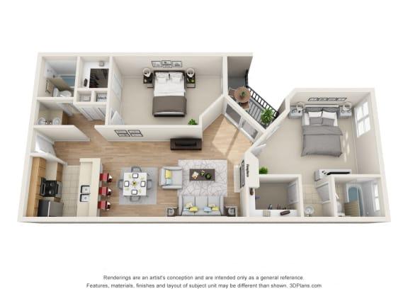 Floor Plan  2Beds 2Baths Pavillion  S Floor Plan at La Vista Terrace, California, 90046