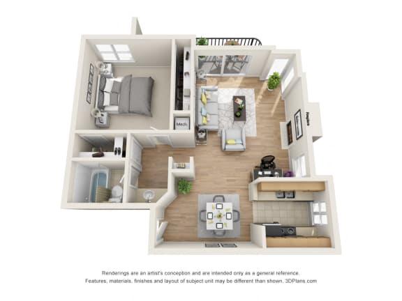 Floor Plan  1 Bed 1 Bath Ambassador Floor Plan at La Vista Terrace, Hollywood, CA, 90046