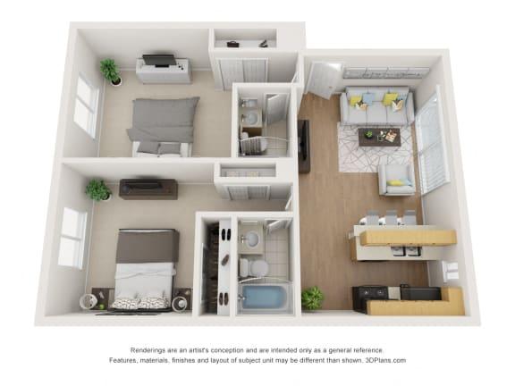 Floor Plan  Floor Plan B at Superior Place, Northridge, 91325