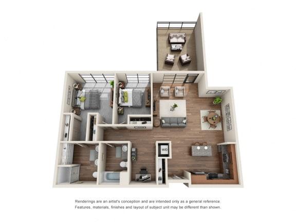 Floor Plan  Equinox 2x2 with Den
