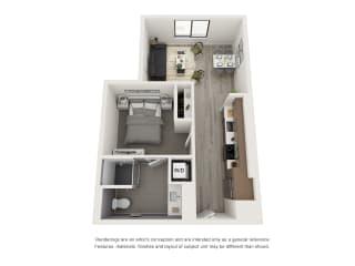 4th and J San Diego, CA A5 Floor Plan 665 SF